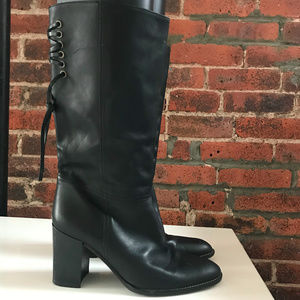 COACH WOMEN'S BLACK LEATHER HEELED BOOT
